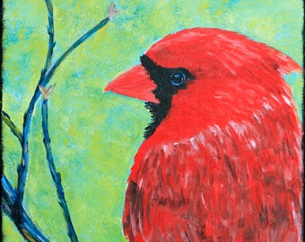 Cardinal Painting Original RedBird Art Acrylic Painting on Canvas Contemporary Modern Decor Songbird Picture for Wall Colorful Design