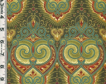 Fabric In the Beginning DECO ELEGANCE Jason Yenter design Scrolls in Green and Red metallic gold  Art Deco style 1JYE 1M