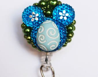 Disney Mickey Mouse Easter Silhouette In Blue ID Badge Reel - Retractable ID Badge Holder - Zipperedheart
