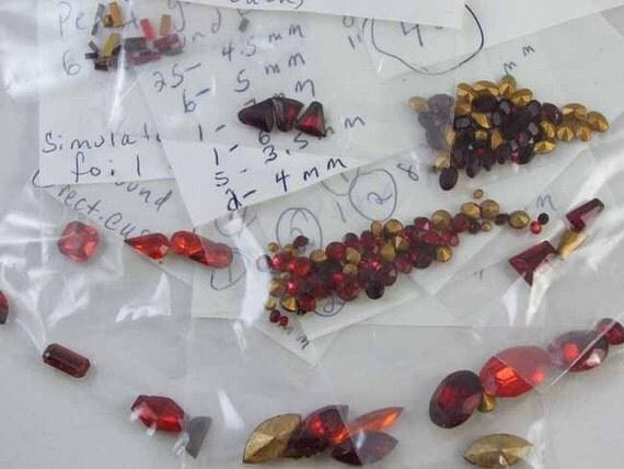HUGE lot of lot of 147 / vintage / red ruby foil back rhinestones / fancy shapes / sorted / destash / jewelry repair / repurpose