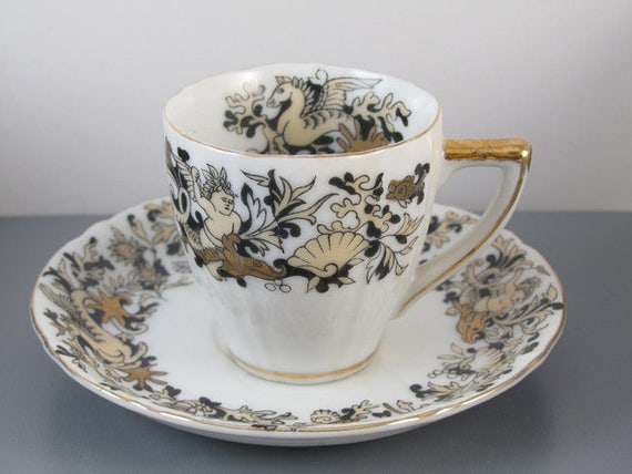 Vintage hand painted Ucagco Japan demitasse cup and saucer / sea life / ocean / gold / porcelain / china / bone china / tea / coffee