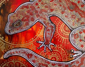 Gecko Miniature Painting by Lynnette Shelley