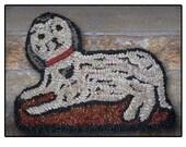 Hooked Rug Dog Dummy Board Black and White Spaniel Dog