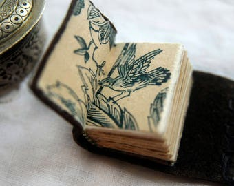 A Lone Library - Hand Stitched Miniature Book, Tea-Stained Fold Out Pages, Vintage Trinket Box - OOAK