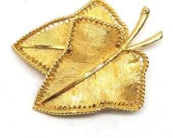 BSK Golden Figural Leaves Pin Signed BSK