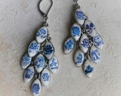 Portugal Antique Azulejo DELFT Tile Replica CLUSTER Dangle Earrings 1837  Pasteis de Belem founded in 1837 Romantic
