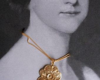 Portugal HUGE Filigree Handmade Heart of Minho Viana Pendant Necklace  - Sterling Silver in 24k Gold Bath - made in Porto -7cm