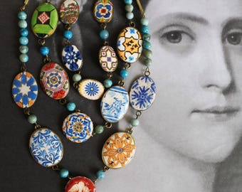 Portugal Azulejo Tile Replica Necklace 3 in One Layered Convertable  TURQUOISE Bib STATEMENT OOAK Majolica Mosaic History Ethnic Persian