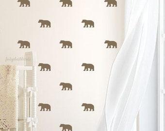 Bear wall decal, mini size decal, woodland nursery, vinyl wall decal, animal decal, bear wall sticker, grizzly bear wall art, set of 24 bear