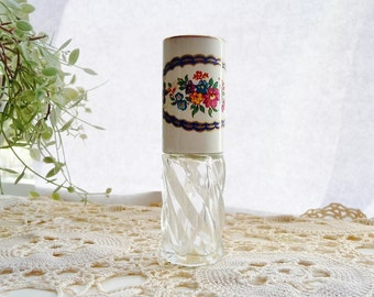 Vintage Perfume Holder With Dauber, Purse Size - Stratton, England - Multi Floral Metal Top, Swirl Glass Container