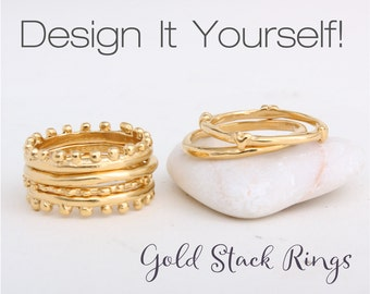 Gold Stacking Rings. Stack Rings in Gold Vermeil.  Stackable Bands. Design your own gold stackable ring set.