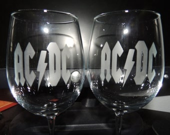 Set Of 2 ACDC Wine Glasses