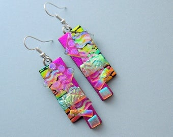 Boho - Bohemian Earrings - Hippie Earrings - Dichroic Fused Glass Earrings - Dichroic Earrings - Hippie Jewelry - Rainbow Earrings  X6595