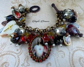 Divine Love Vintage and New Catholic Sacred Heart of Jesus Cameo Religious Medals Charm Bracelet