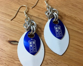 Doctor Who TARDIS Chainmaille and Scalemaille Earrings in White and Blue
