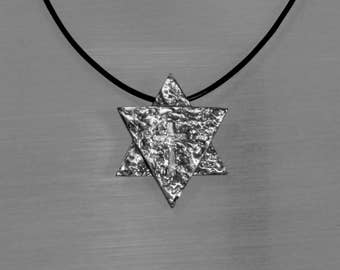 Star of David with Cross mark, Messianic symbol, necklace for men, Shield of David with cross imprint, Judaica jewelry, Gift for men.