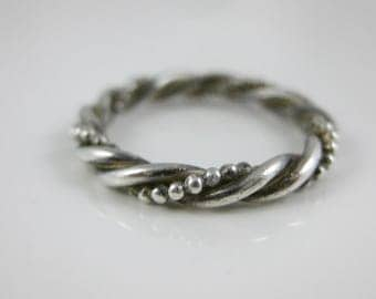 Size 5 Vintage Sterling Silver Twist Spiral Ring