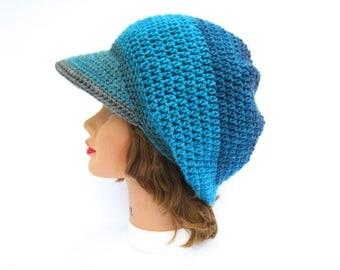 Crochet Newsboy Hat - Brimmed Beanie - Slouchy Hat With Brim - Women's Cap - Visor Hat - Sphinx Hat - Gray Blue Cap - Crochet Cap