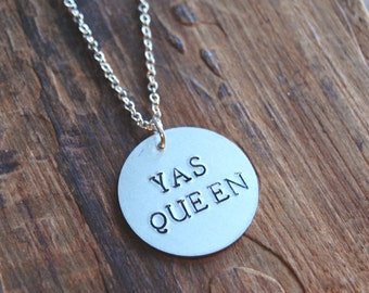 YAS QUEEN. Silver Hand Stamped Pendant Necklace. Broad City Inspired Necklace