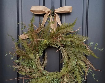 SPRING/SUMMER Wreaths, SPRING Wreaths, Spring Fern and Burlap, Fern Wreaths, Year Round Wreath, Etsy Wreaths, Artificial Fern Wreath