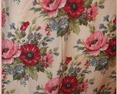 Vintage BARKCLOTH CURTAINS   2 vintage  drapery panels Nubby fabric pink roses poppies