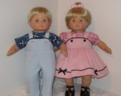 Pink and Blue Matching Outfits, Fits 15 Inch American Girl Bitty Twin Dolls