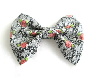 Floral and Lace Fabric Hair Bow