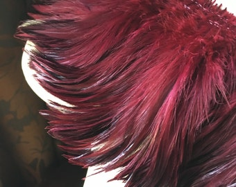 """4"""" strip Claret Burgundy Feathers Rooster Furnace Hackle for Costumes, Hats, Bridal, Masks, Tribal Fusion"""