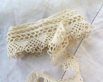 "Antique Bobbin Lace Trim In Ivory Cotton 68"" x 1"""