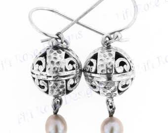 "1"" Freshwater Pearl 925 Sterling Silver Earrings"