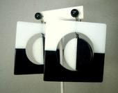 Black and White MOD Op Art Geometric Giant Earrings, MOBiles with Screw Top, Big Statement Retro Plastic Fashion, 1960s