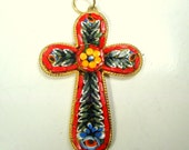 Vintage Red Italian Micro Mosaic Cross Pendant, Style A,  1970s Cane Glass Tiles, Classic Venetian Flowered Christian Cross, NO Chain