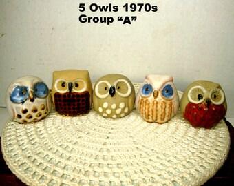 5 Adorable OWLs, 1970s Taiwan Ceramics, Mod Classics, Brown, Blue, Gray, Tan Glazed Cuties, Favorite Woodland Bird, Pick A or B