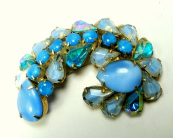 Something Blue Glass Rhinestone Pin, Wedding, 1960s Glittery Aqua, Turquoise n Baby BLUE Glass  Brooch, Prong Set, Bridal or Easter Spring