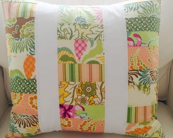 Floral Quilted Patchwork Pillow -- 18 Inch