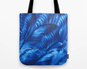 Blue Ribbons Tote Bag / Encaustic Art on Tote / Book Tote Bag / Market Tote / Available in 3 Sizes / Made to Order