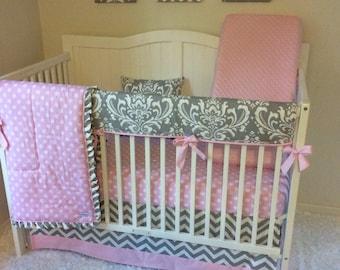 Baby Girl Crib Bedding Set Pink and Gray Damask and Polka Dots Bumperless
