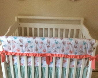 Coral Aqua And Gray Birds and Berries Baby Girl Mini Crib Bedding Ready to Ship