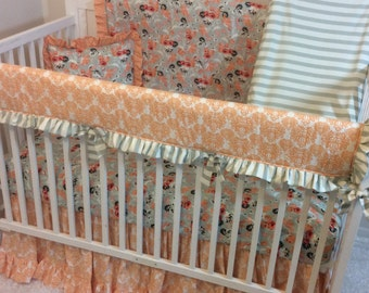 Baby Girl Crib Bedding Set Mint Coral Peach Floral Damask Ready to Ship