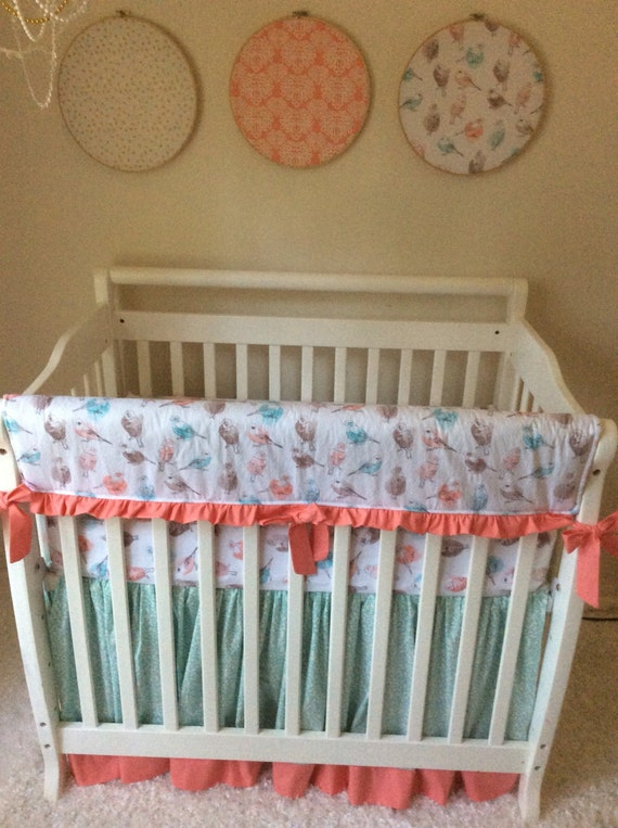 coral aqua and gray birds and berries baby girl mini crib. Black Bedroom Furniture Sets. Home Design Ideas