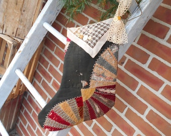 Christmas stocking, Quilted stocking, Vintage stocking, Vintage quilt stocking, primitive stocking, hand made stocking, Santa stocking.