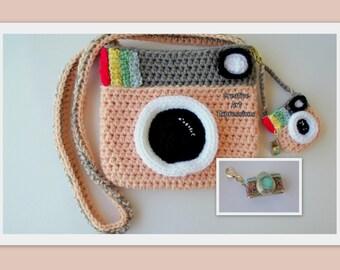 Camera Purse, Peach, Gray, Camera Bag, Camera Bag Purse, Stylish Camera Bag, Crochet, Fashion Camera Bag, Cute Camera Bag, Handmade, Fabric