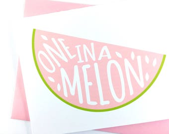 Thank You Card, Thinking of You Card, Thank You Note Card for Spring, Cute Friendship Card, Pink Watermelon Celebration Card, Single Card