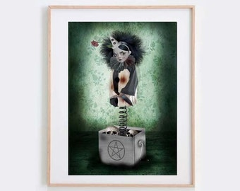 Claustrophobia  - Gothic Art Print - Wall Decor - Creepy Jack In A Box