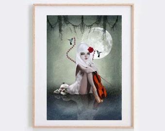 Gothic Fantasy Art Print - Goth Girl & Violin - Melancholy Art - Big Eyes Art - Violin Print - Dream In Motion