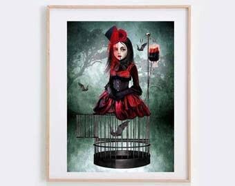 Macabre Art Print - Vampire & Bats - Gothic Art - Wall Decor  - A Prisoner In My Own Body