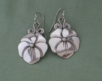 Pansy Flower Earrings, Sterling Silver Floral Earring, Handmade Silver Earrings, Free Shipping