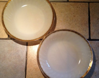 2 Gold Rim Milk Glass Anniversary Shallow Bowls by Fire King