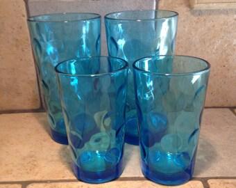 Set of 4 Aqua Blue Glasses