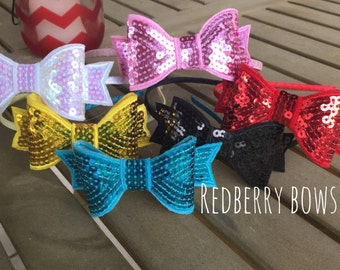 SEQUIN BOW HEADBAND-Choice of 6 Colors-White,Gold, Aqua, Black, Pink, Red